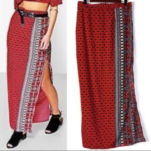 Boohoo Boho Printed Maxi Skirt With Side Slit
